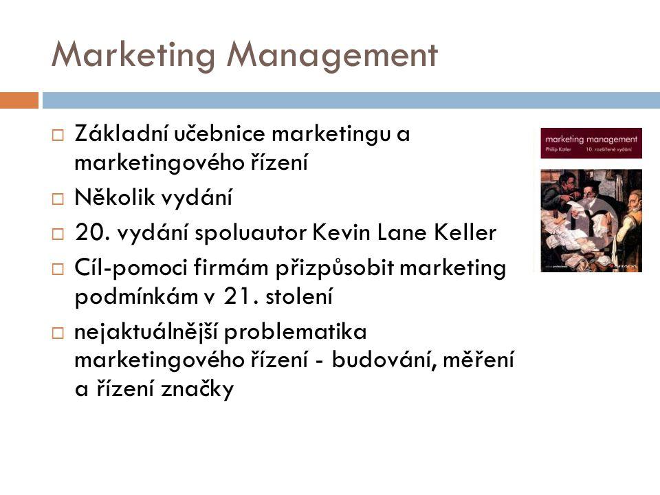 Marketing Management  Základní učebnice marketingu a marketingového řízení  Několik vydání  20. vydání spoluautor Kevin Lane Keller  Cíl-pomoci fi