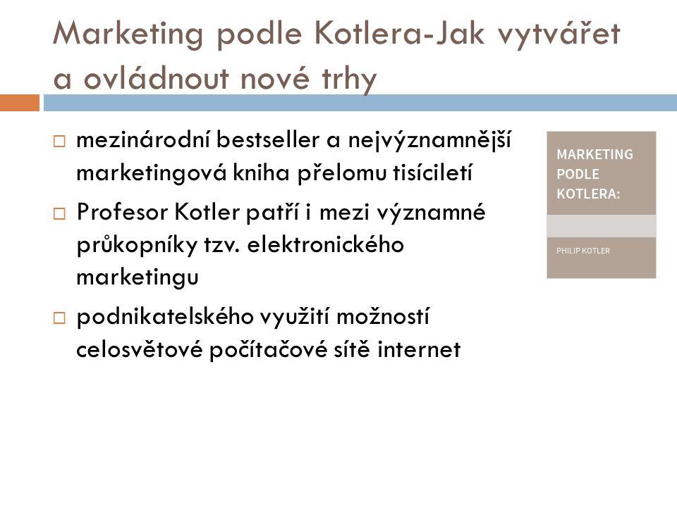 Marketing podle Kotlera-Jak vytvářet a ovládnout nové trhy  mezinárodní bestseller a nejvýznamnější marketingová kniha přelomu tisíciletí  Profesor