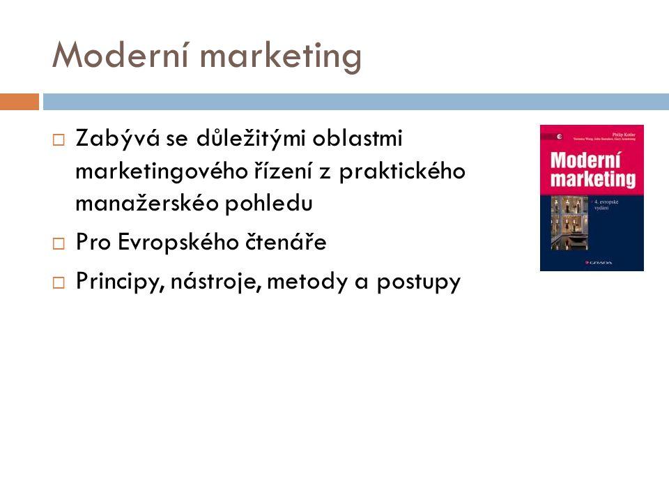 Moderní marketing  Zabývá se důležitými oblastmi marketingového řízení z praktického manažerskéo pohledu  Pro Evropského čtenáře  Principy, nástroj
