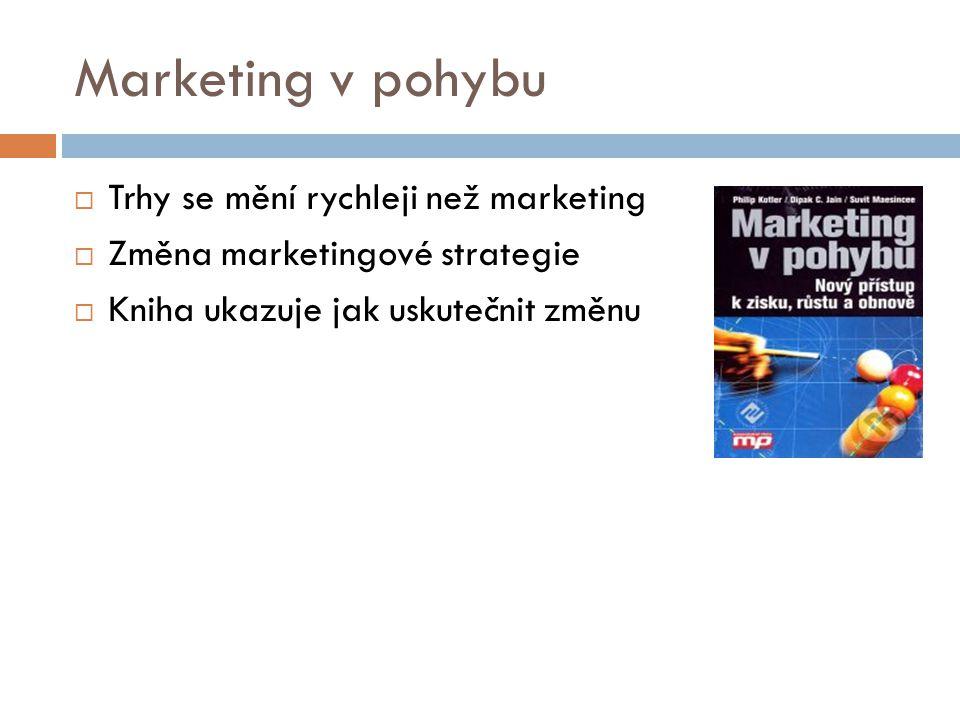 Marketing v pohybu  Trhy se mění rychleji než marketing  Změna marketingové strategie  Kniha ukazuje jak uskutečnit změnu