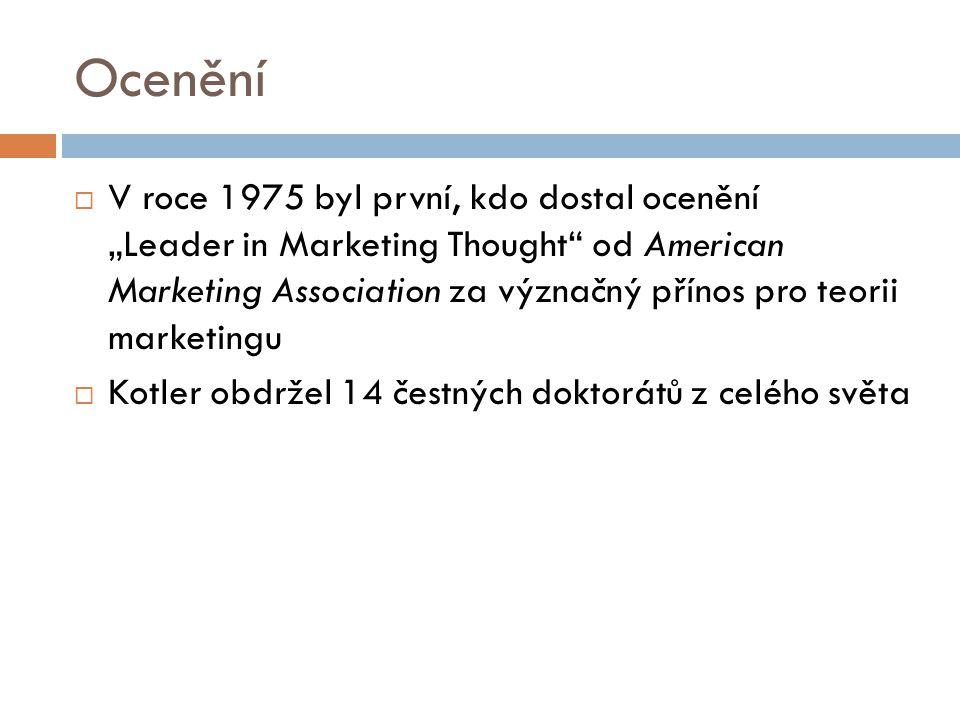 """Ocenění  V roce 1975 byl první, kdo dostal ocenění """"Leader in Marketing Thought"""" od American Marketing Association za význačný přínos pro teorii mark"""