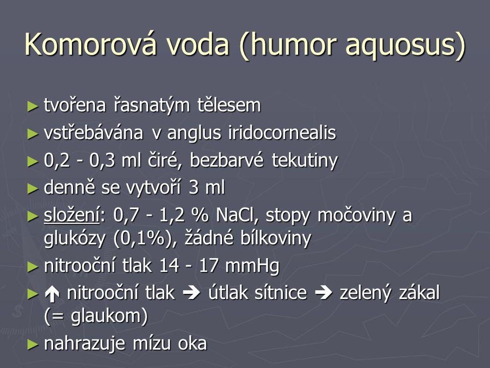 Komorová voda (humor aquosus) ► tvořena řasnatým tělesem ► vstřebávána v anglus iridocornealis ► 0,2 - 0,3 ml čiré, bezbarvé tekutiny ► denně se vytvoří 3 ml ► složení: 0,7 - 1,2 % NaCl, stopy močoviny a glukózy (0,1%), žádné bílkoviny ► nitrooční tlak 14 - 17 mmHg ►  nitrooční tlak  útlak sítnice  zelený zákal (= glaukom) ► nahrazuje mízu oka