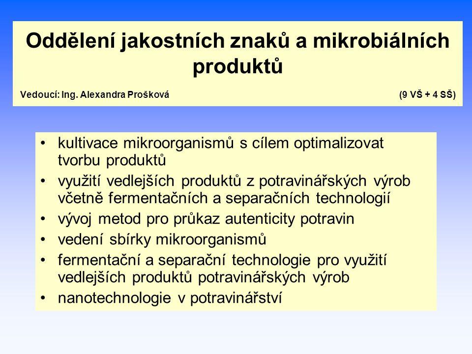Oddělení jakostních znaků a mikrobiálních produktů Vedoucí: Ing. Alexandra Prošková (9 VŠ + 4 SŠ) kultivace mikroorganismů s cílem optimalizovat tvorb