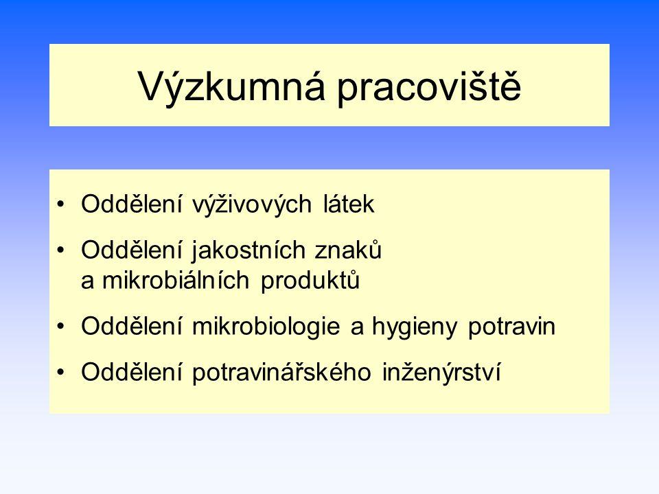 Oddělení výživových látek Vedoucí: Ing.Dana Gabrovská, CSc.