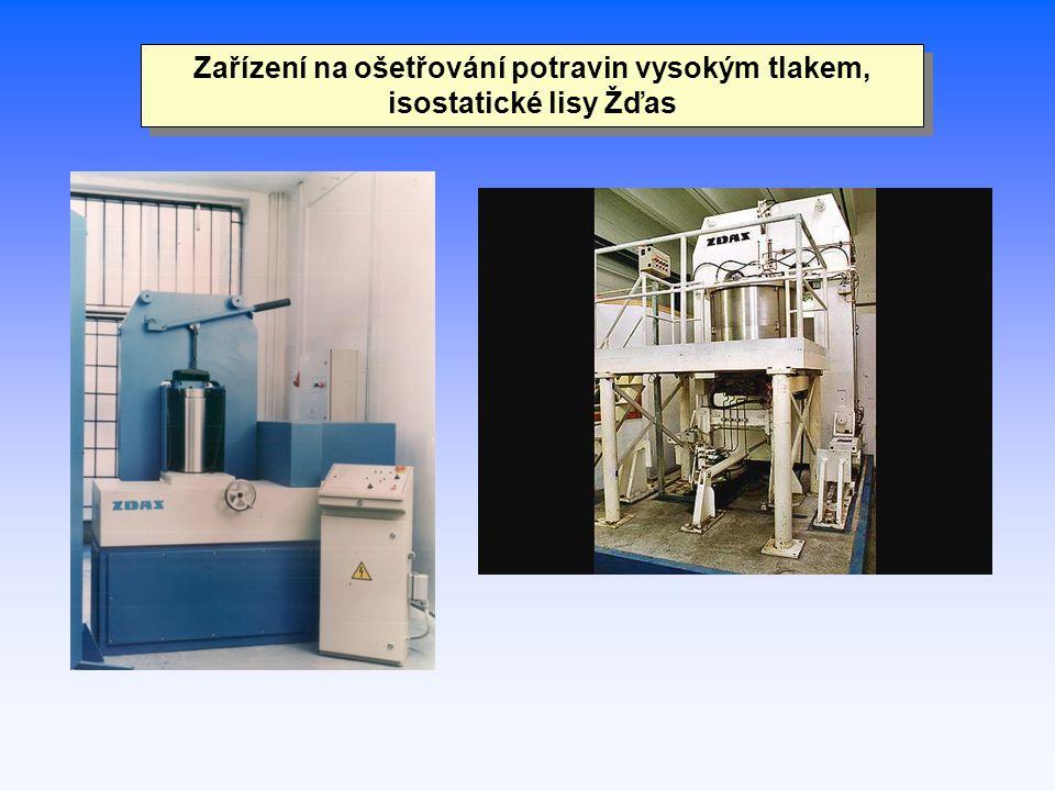 Zařízení na ošetřování potravin vysokým tlakem, isostatické lisy Žďas