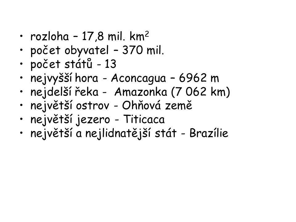 rozloha – 17,8 mil. km 2 počet obyvatel – 370 mil. počet států - 13 nejvyšší hora - Aconcagua – 6962 m nejdelší řeka - Amazonka (7 062 km) největší os