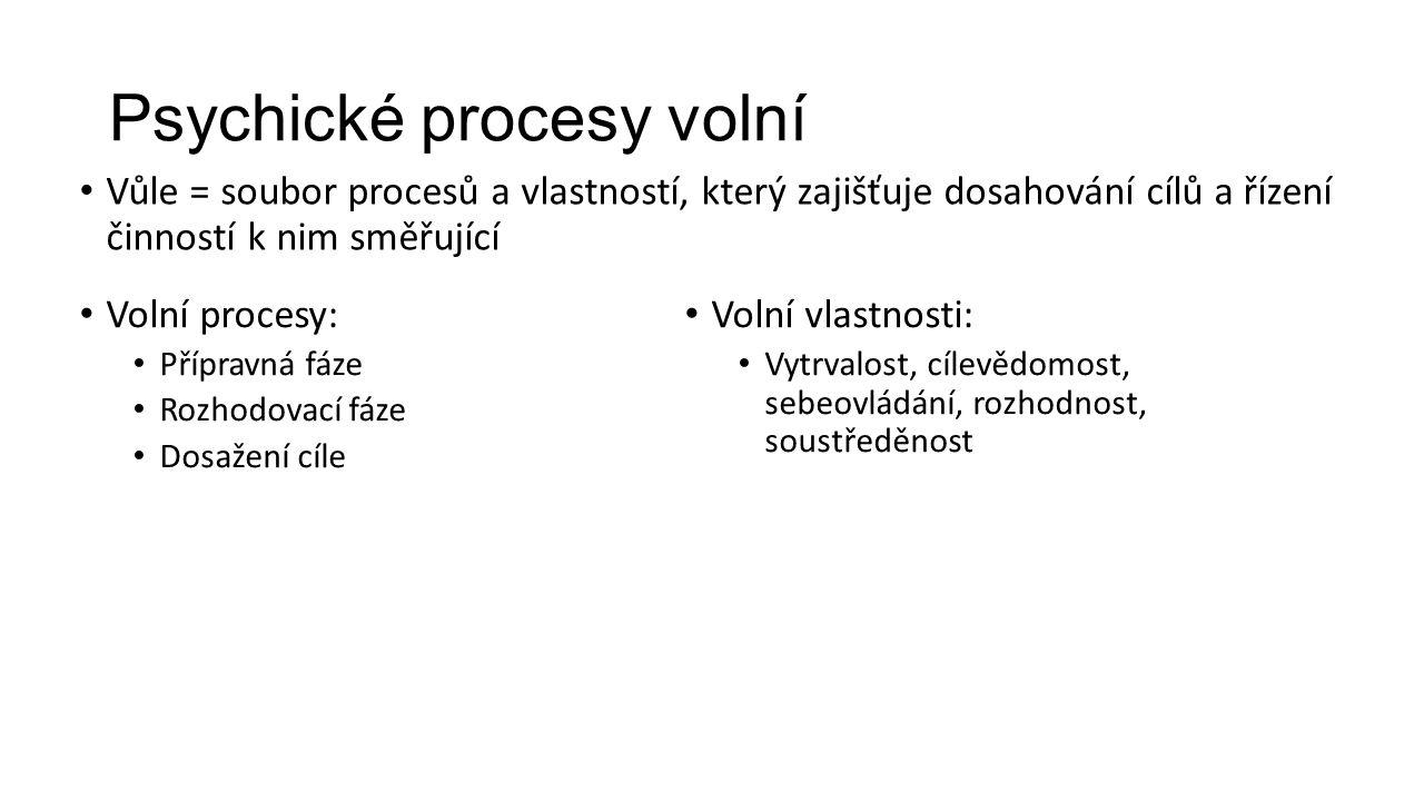 Psychické procesy volní Vůle = soubor procesů a vlastností, který zajišťuje dosahování cílů a řízení činností k nim směřující Volní procesy: Přípravná