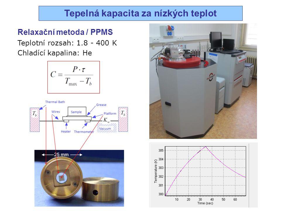 Relaxační metoda / PPMS Teplotní rozsah: 1.8 - 400 K Chladící kapalina: He Tepelná kapacita za nízkých teplot