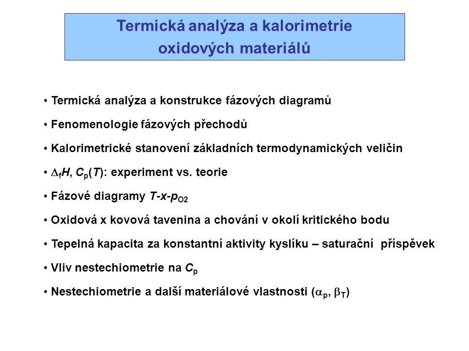 Termická analýza a kalorimetrie oxidových materiálů Termická analýza a konstrukce fázových diagramů Fenomenologie fázových přechodů Kalorimetrické sta