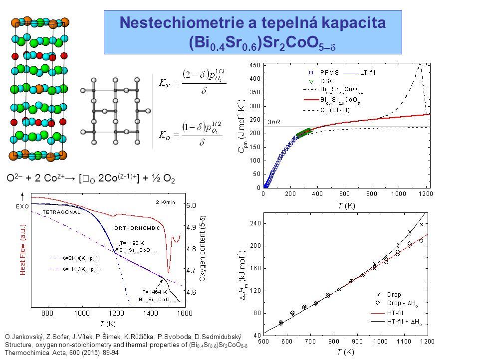 Nestechiometrie a tepelná kapacita (Bi 0.4 Sr 0.6 )Sr 2 CoO 5–  O.Jankovský, Z.Sofer, J.Vítek, P.Šimek, K.Růžička, P.Svoboda, D.Sedmidubský Structure