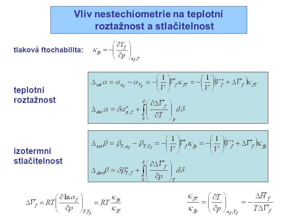 Vliv nestechiometrie na teplotní roztažnost a stlačitelnost izotermní stlačitelnost teplotní roztažnost tlaková ftochabilita: