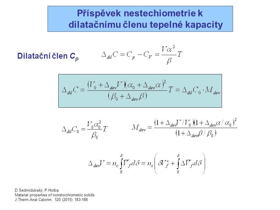 Příspěvek nestechiometrie k dilatačnímu členu tepelné kapacity Dilatační člen C p D.Sedmidubský, P.Holba Material properties of nonstoichiometric soli