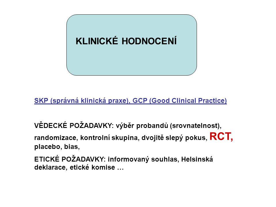 KLINICKÉ HODNOCENÍ SKP (správná klinická praxe), GCP (Good Clinical Practice) VĚDECKÉ POŽADAVKY: výběr probandů (srovnatelnost), randomizace, kontroln