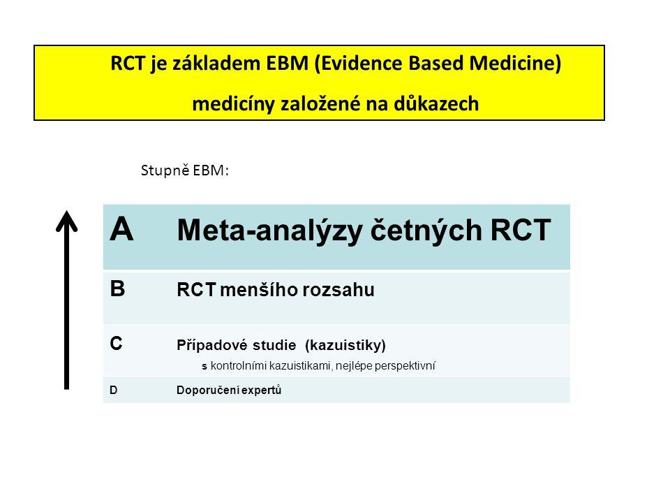 RCT je základem EBM (Evidence Based Medicine) medicíny založené na důkazech Stupně EBM: A Meta-analýzy četných RCT B RCT menšího rozsahu C Případové s
