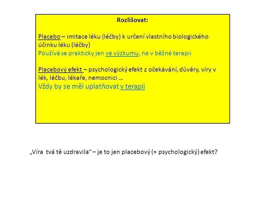 Rozlišovat: Placebo – imitace léku (léčby) k určení vlastního biologického účinku léku (léčby) Používá se prakticky jen ve výzkumu, ne v běžné terapii