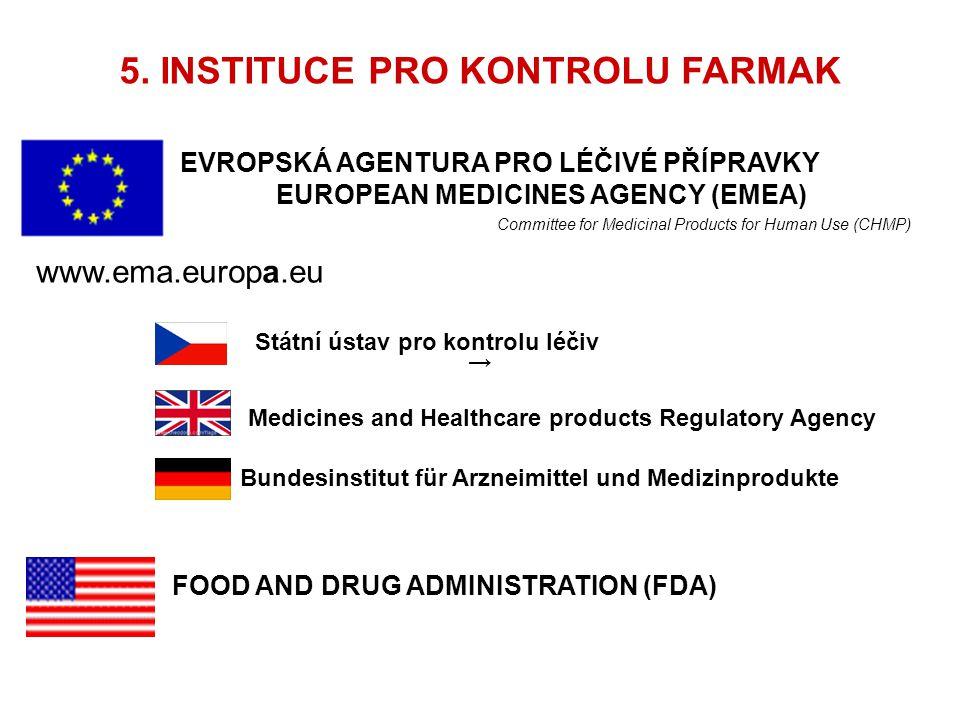 5. INSTITUCE PRO KONTROLU FARMAK EVROPSKÁ AGENTURA PRO LÉČIVÉ PŘÍPRAVKY EUROPEAN MEDICINES AGENCY (EMEA) Committee for Medicinal Products for Human Us