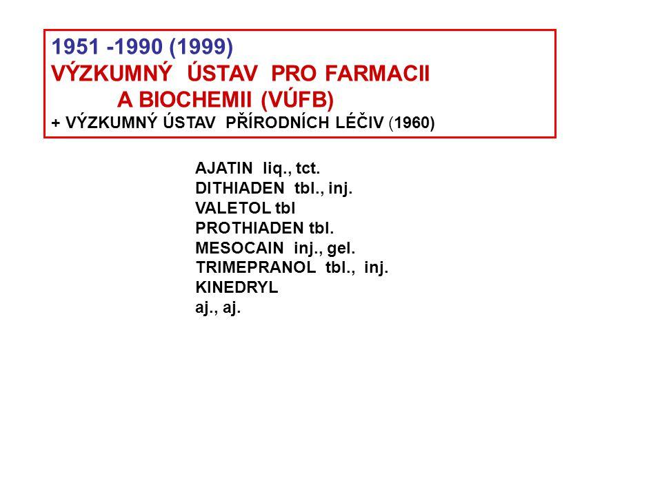 1951 -1990 (1999) VÝZKUMNÝ ÚSTAV PRO FARMACII A BIOCHEMII (VÚFB) + VÝZKUMNÝ ÚSTAV PŘÍRODNÍCH LÉČIV (1960) AJATIN liq., tct. DITHIADEN tbl., inj. VALET