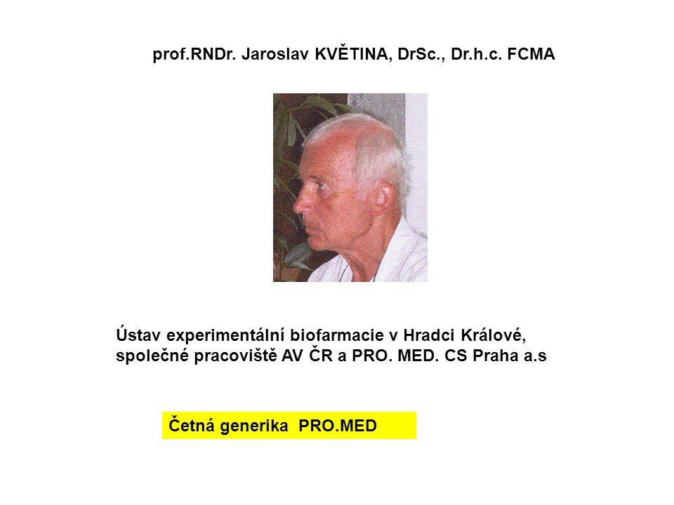 prof.RNDr. Jaroslav KVĚTINA, DrSc., Dr.h.c. FCMA Ústav experimentální biofarmacie v Hradci Králové, společné pracoviště AV ČR a PRO. MED. CS Praha a.s