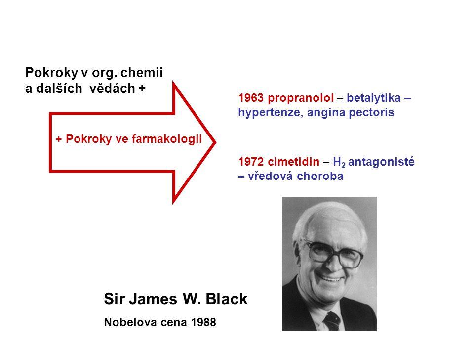 Pokroky v org. chemii a dalších vědách + + Pokroky ve farmakologii 1963 propranolol – betalytika – hypertenze, angina pectoris 1972 cimetidin – H 2 an
