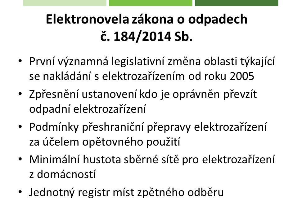 První významná legislativní změna oblasti týkající se nakládání s elektrozařízením od roku 2005 Zpřesnění ustanovení kdo je oprávněn převzít odpadní elektrozařízení Podmínky přeshraniční přepravy elektrozařízení za účelem opětovného použití Minimální hustota sběrné sítě pro elektrozařízení z domácností Jednotný registr míst zpětného odběru Elektronovela zákona o odpadech č.