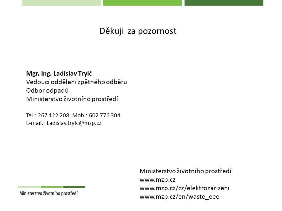Mgr. Ing. Ladislav Trylč Vedoucí oddělení zpětného odběru Odbor odpadů Ministerstvo životního prostředí Tel.: 267 122 208, Mob.: 602 776 304 E-mail.: