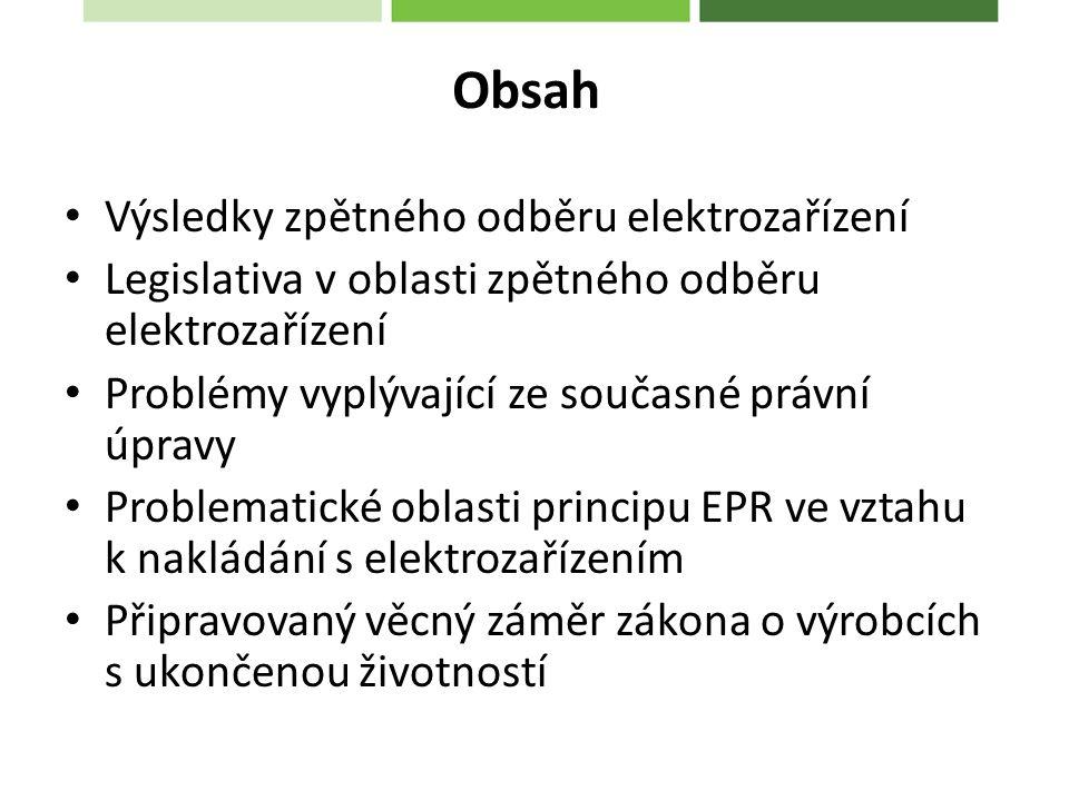 Obsah Výsledky zpětného odběru elektrozařízení Legislativa v oblasti zpětného odběru elektrozařízení Problémy vyplývající ze současné právní úpravy Problematické oblasti principu EPR ve vztahu k nakládání s elektrozařízením Připravovaný věcný záměr zákona o výrobcích s ukončenou životností