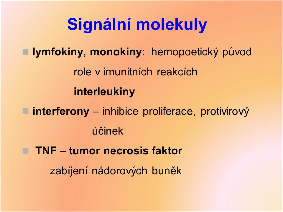 lymfokiny, monokiny: hemopoetický původ role v imunitních reakcích interleukiny interferony – inhibice proliferace, protivirový účinek TNF – tumor nec