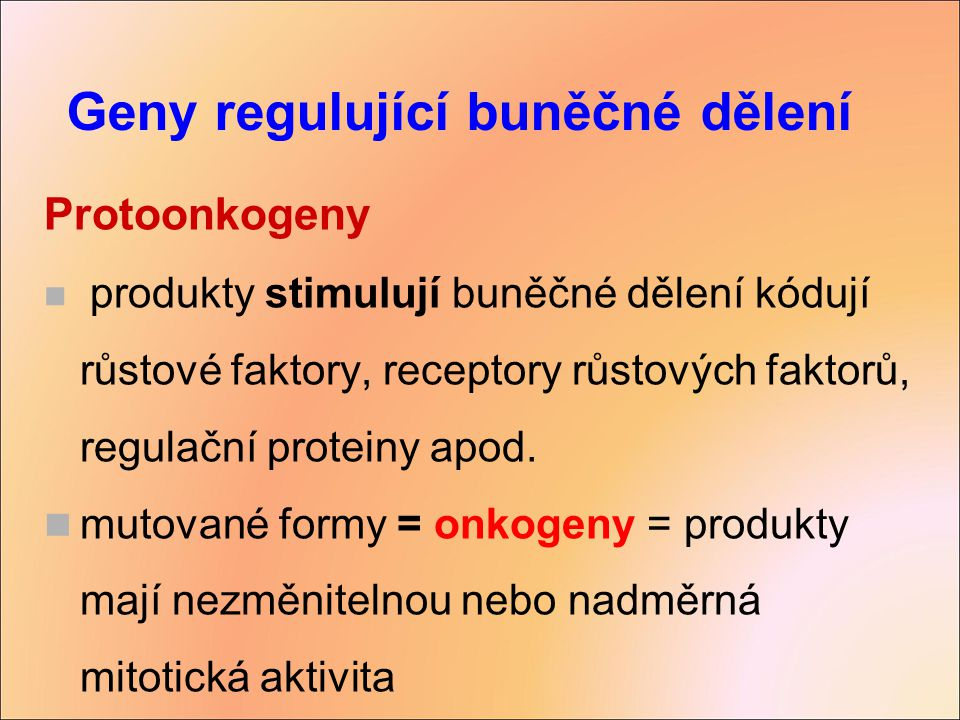 Geny regulující buněčné dělení Protoonkogeny produkty stimulují buněčné dělení kódují růstové faktory, receptory růstových faktorů, regulační proteiny