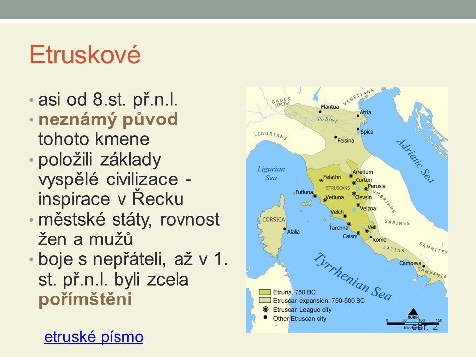 Zápis do sešitu Etruskové asi od 8.st.př.n.l.