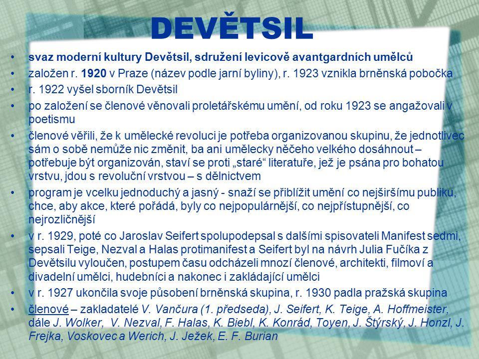 PROLETÁŘSKÁ LITERATURA český literární směr 20.let 20.