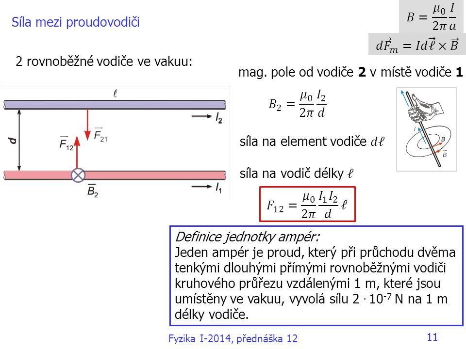 11 Síla mezi proudovodiči 2 rovnoběžné vodiče ve vakuu: mag.