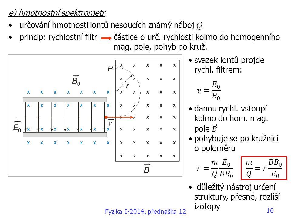 e) hmotnostní spektrometr určování hmotnosti iontů nesoucích známý náboj Q princip: rychlostní filtr částice o urč.