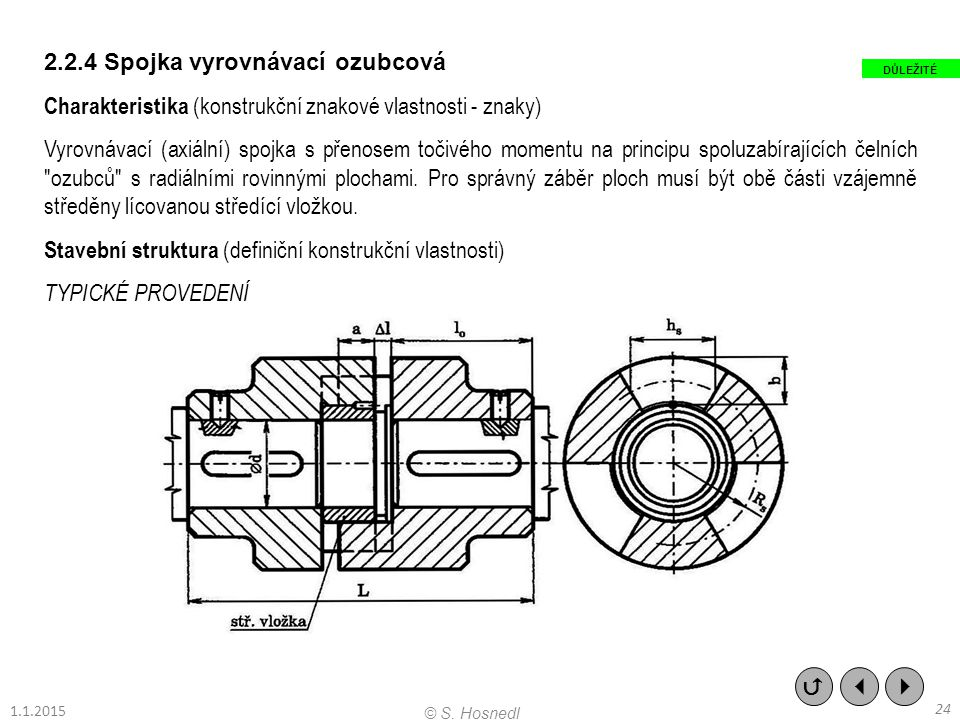 2.2.4 Spojka vyrovnávací ozubcová Charakteristika (konstrukční znakové vlastnosti - znaky) Vyrovnávací (axiální) spojka s přenosem točivého momentu na