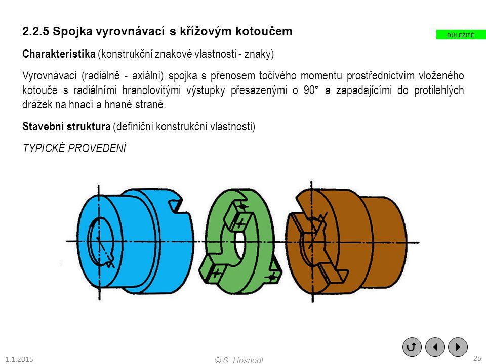 2.2.5 Spojka vyrovnávací s křížovým kotoučem Charakteristika (konstrukční znakové vlastnosti - znaky) Vyrovnávací (radiálně - axiální) spojka s přenos
