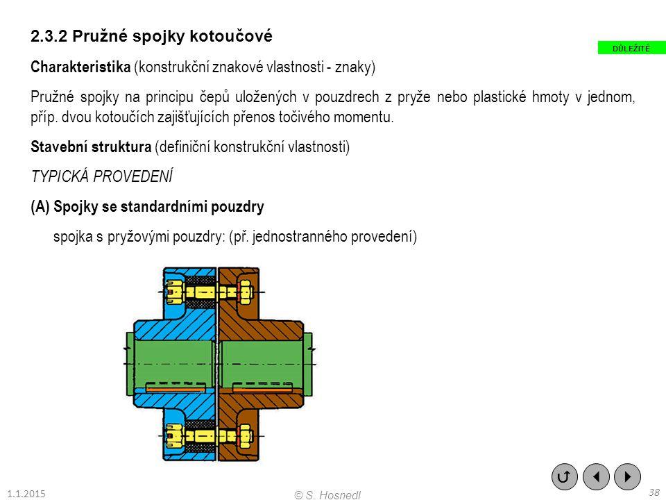 2.3.2 Pružné spojky kotoučové Charakteristika (konstrukční znakové vlastnosti - znaky) Pružné spojky na principu čepů uložených v pouzdrech z pryže ne