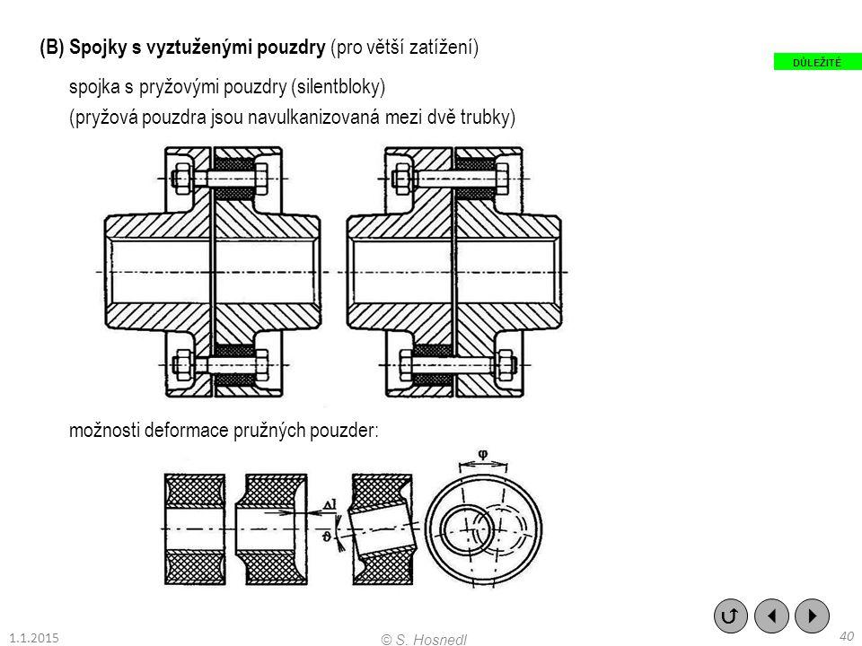 (B) Spojky s vyztuženými pouzdry (pro větší zatížení) spojka s pryžovými pouzdry (silentbloky) (pryžová pouzdra jsou navulkanizovaná mezi dvě trubky)