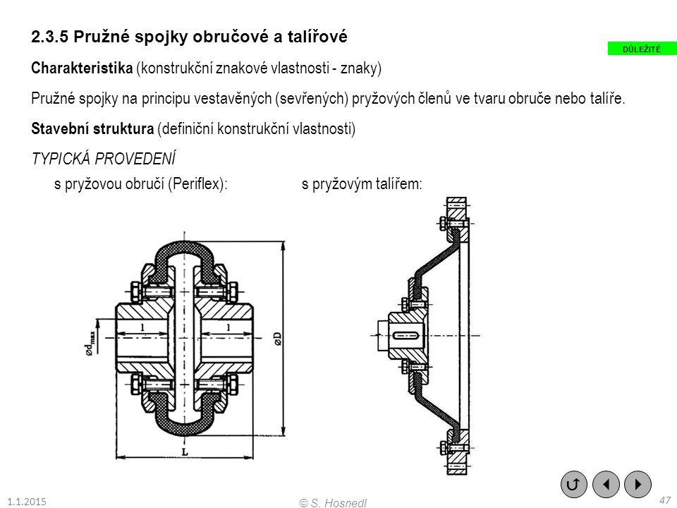 2.3.5 Pružné spojky obručové a talířové Charakteristika (konstrukční znakové vlastnosti - znaky) Pružné spojky na principu vestavěných (sevřených) pry