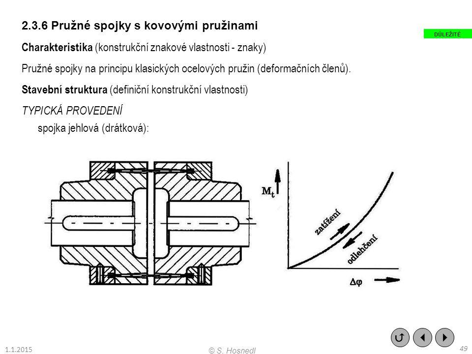 2.3.6 Pružné spojky s kovovými pružinami Charakteristika (konstrukční znakové vlastnosti - znaky) Pružné spojky na principu klasických ocelových pruži
