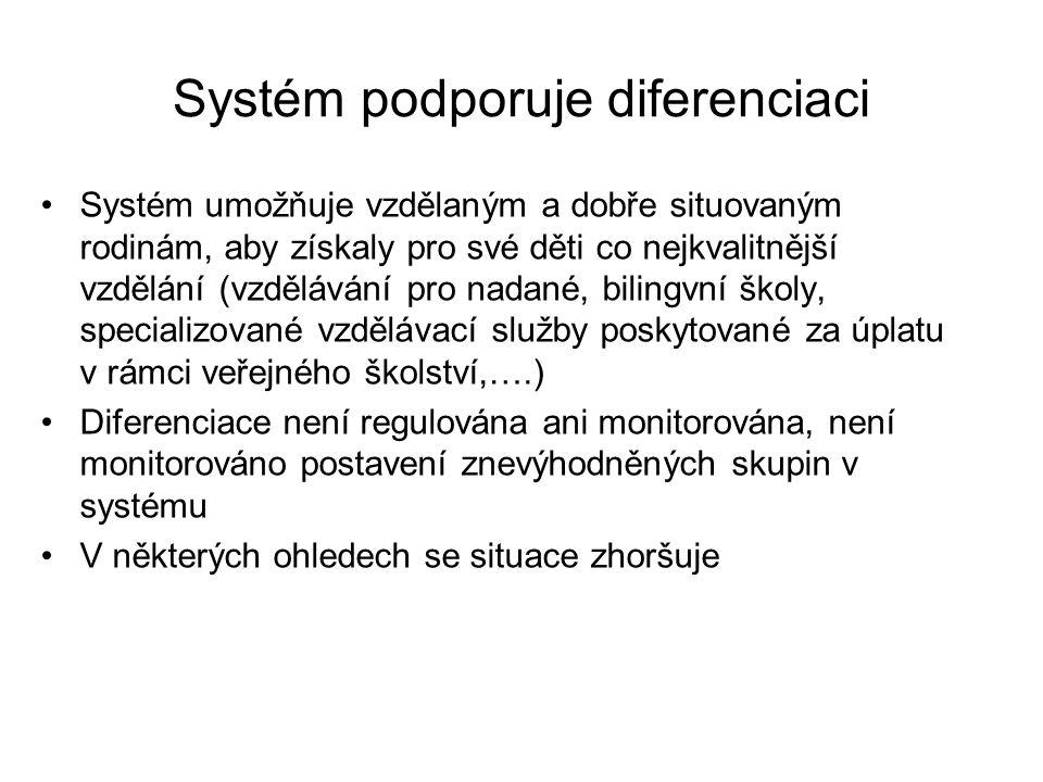 Systém podporuje diferenciaci Systém umožňuje vzdělaným a dobře situovaným rodinám, aby získaly pro své děti co nejkvalitnější vzdělání (vzdělávání pr