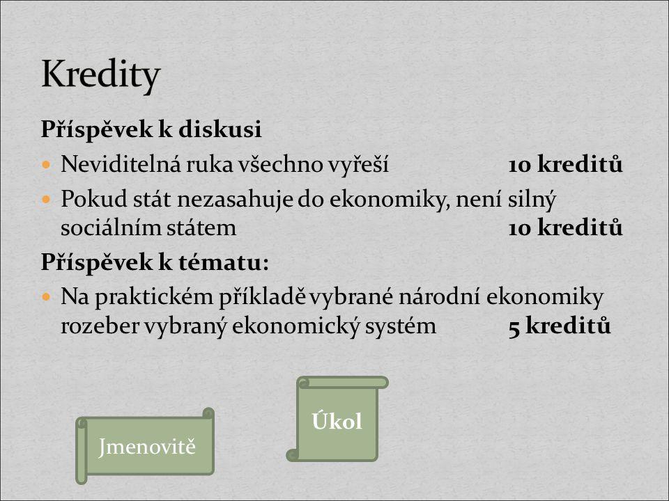 Příspěvek k diskusi Neviditelná ruka všechno vyřeší10 kreditů Pokud stát nezasahuje do ekonomiky, není silný sociálním státem10 kreditů Příspěvek k té