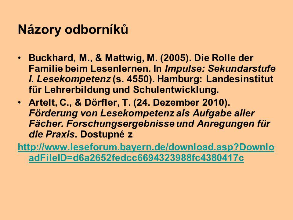 Názory odborníků Buckhard, M., & Mattwig, M. (2005). Die Rolle der Familie beim Lesenlernen. In Impulse: Sekundarstufe I. Lesekompetenz (s. 4550). Ha
