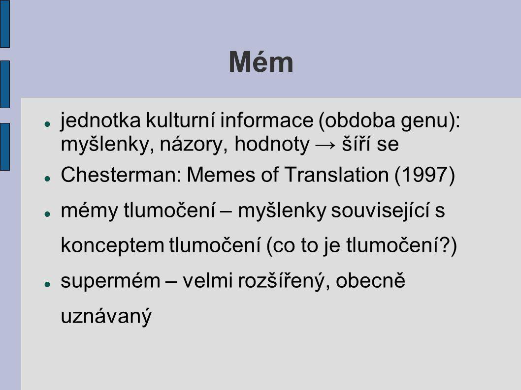Mém jednotka kulturní informace (obdoba genu): myšlenky, názory, hodnoty → šíří se Chesterman: Memes of Translation (1997) mémy tlumočení – myšlenky s