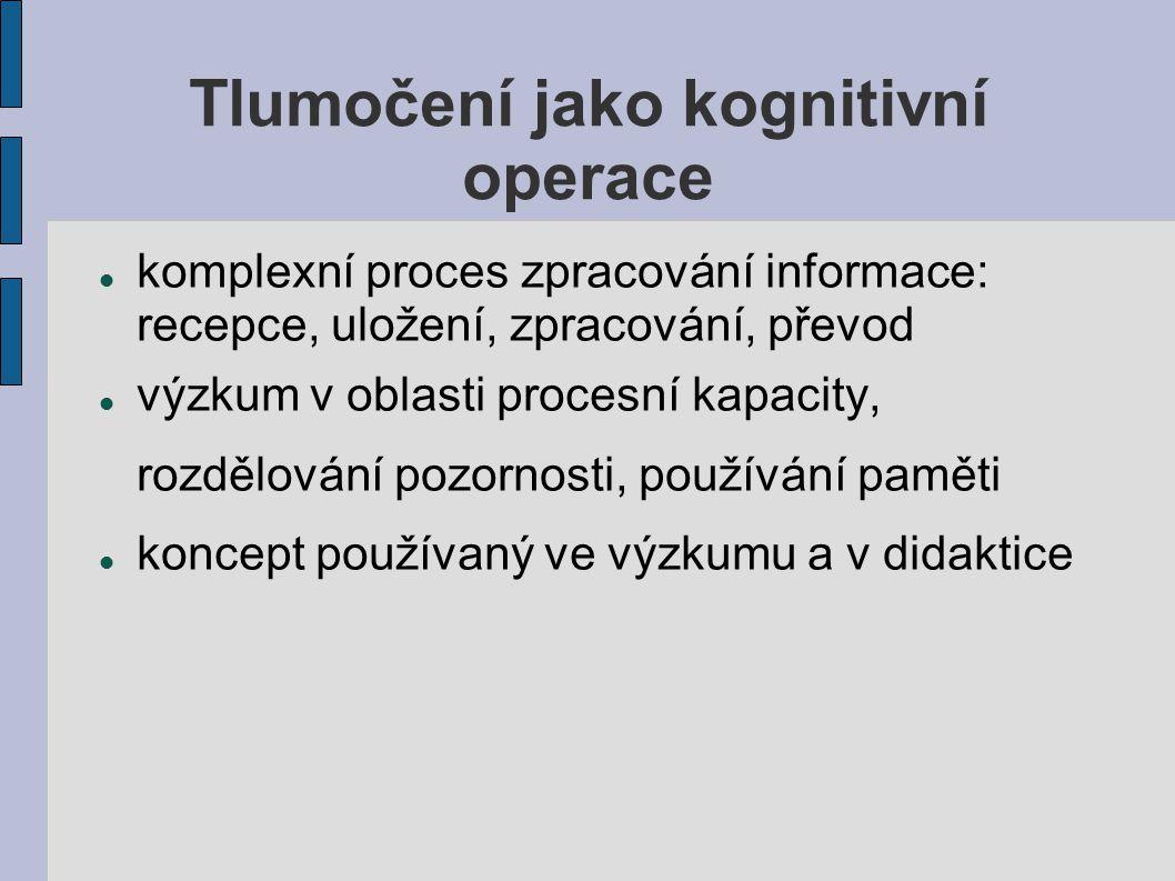 Tlumočení jako kognitivní operace komplexní proces zpracování informace: recepce, uložení, zpracování, převod výzkum v oblasti procesní kapacity, rozd
