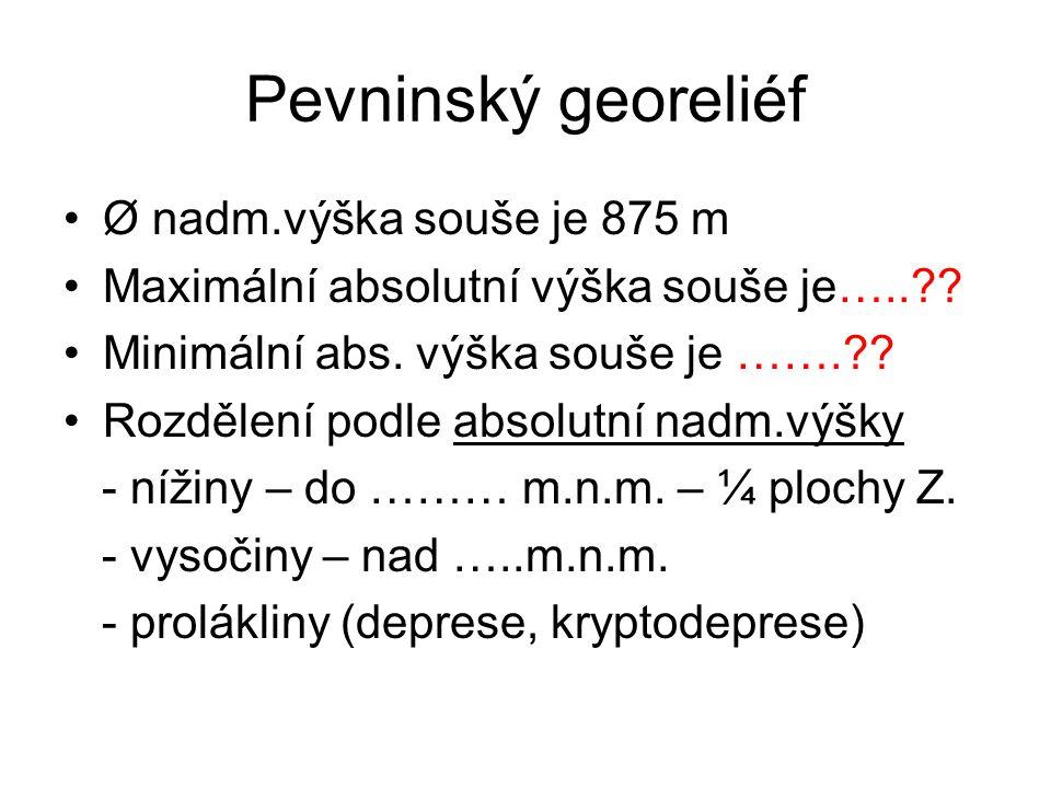 Pevninský georeliéf Rozdělené podle relativní nadmořské výšky (rozdíl mezi vrcholem a údolím na dané ploše) → morfologické typy georeliéfu - roviny (do 30m) - pahorkatiny (30 – 150m) - vrchoviny (150 – 300m) - hornatiny (300 – 600m) - velehornatiny (nad 600m)