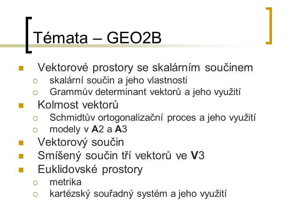 Témata – GEO2B Vektorové prostory se skalárním součinem  skalární součin a jeho vlastnosti  Grammův determinant vektorů a jeho využití Kolmost vektorů  Schmidtův ortogonalizační proces a jeho využití  modely v A2 a A3 Vektorový součin Smíšený součin tří vektorů ve V3 Euklidovské prostory  metrika  kartézský souřadný systém a jeho využití