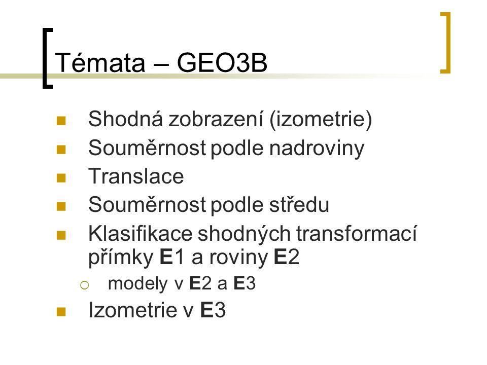 Témata – GEO3B Shodná zobrazení (izometrie) Souměrnost podle nadroviny Translace Souměrnost podle středu Klasifikace shodných transformací přímky E1 a roviny E2  modely v E2 a E3 Izometrie v E3
