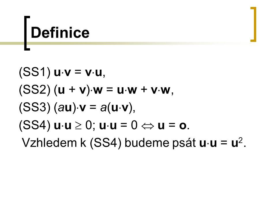Věta 16.1 (s důkazem) Pro všechny vektory u, v, w  V n a pro všechna reálná čísla a  R platí: a) u  (v + w) = u  v + u  w, b) (u + v) 2 = u 2 + 2(u  v) + v 2, c) u  (av) = a(u  v), d) o  u = u  o = 0, e) u  v = ((u + v) 2 - u 2 - v 2 ).