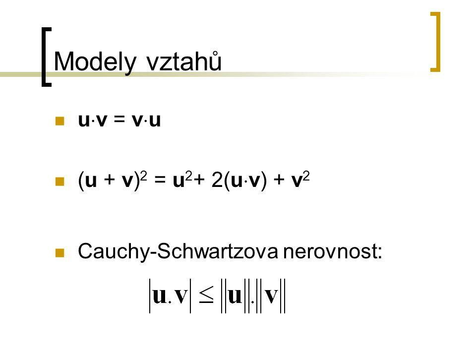 Modely vztahů u  v = v  u (u + v) 2 = u 2 + 2(u  v) + v 2 Cauchy-Schwartzova nerovnost: