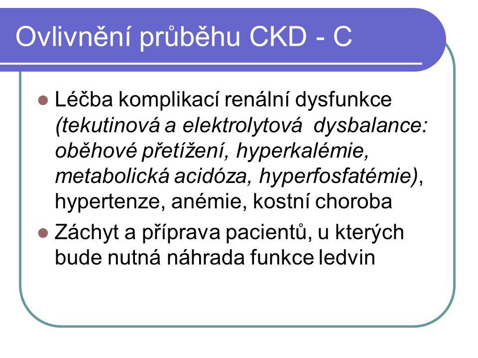 Ovlivnění průběhu CKD - C Léčba komplikací renální dysfunkce (tekutinová a elektrolytová dysbalance: oběhové přetížení, hyperkalémie, metabolická acidóza, hyperfosfatémie), hypertenze, anémie, kostní choroba Záchyt a příprava pacientů, u kterých bude nutná náhrada funkce ledvin