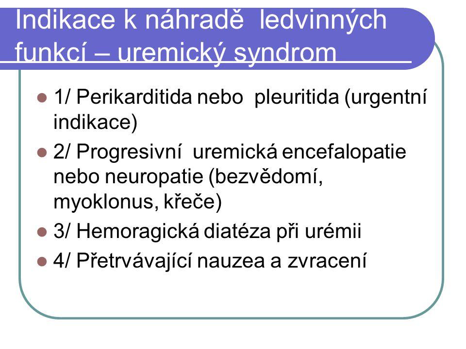 Indikace k náhradě ledvinných funkcí – uremický syndrom 1/ Perikarditida nebo pleuritida (urgentní indikace) 2/ Progresivní uremická encefalopatie nebo neuropatie (bezvědomí, myoklonus, křeče) 3/ Hemoragická diatéza při urémii 4/ Přetrvávající nauzea a zvracení